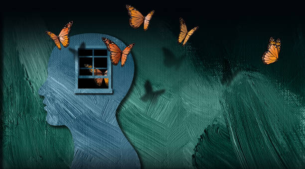 Graphic Abstract dreamlike Butterflies and open window Background Graphic abstract design of concept of being emotionally or mentally set free. Simple, dramatic and dreamlike art composed of iconic butterflies, and opened window. relief emotion stock illustrations