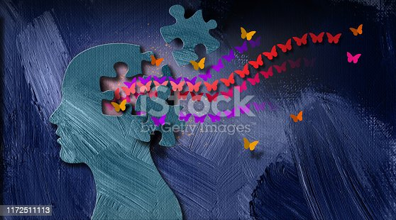 Graphic abstract design of concept of being emotionally or mentally set free. Simple, dramatic, dreamlike art composed of iconic butterflies, puzzle pieces and head profile.