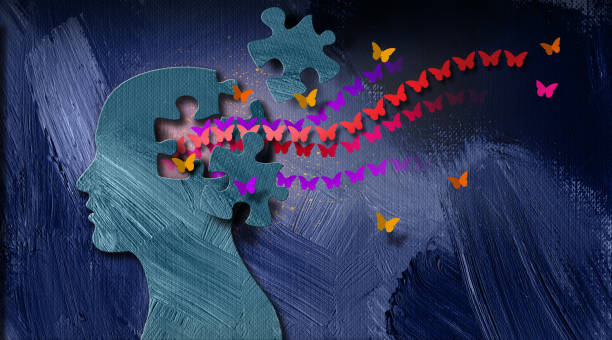 Graphic Abstract free Butterfly stream and puzzle piece Background Graphic abstract design of concept of being emotionally or mentally set free. Simple, dramatic, dreamlike art composed of iconic butterflies, puzzle pieces and head profile. relief emotion stock illustrations
