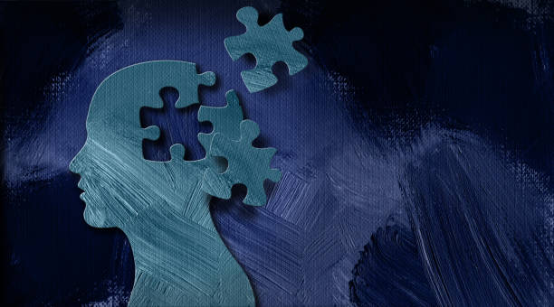 graphic abstract head and puzzle pieces background - therapist stock illustrations