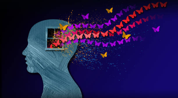 Graphic Abstract stream of Butterflies flow through emotion's open window Background Graphic abstract design of birth of idea or being emotionally set free. Simple, dramatic, dreamlike art with stream of iconic butterflies, open window and head profile. relief emotion stock illustrations
