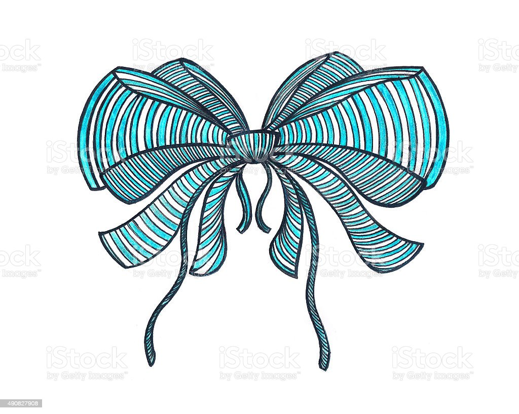 graphic bow drawing color pencils blue stock vector art more