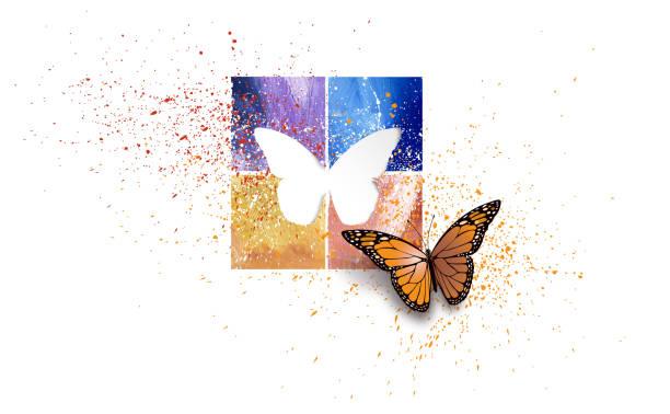 stockillustraties, clipart, cartoons en iconen met grafische vlinder met kleurrijke vierkantjes en uitsparing vorm - fresh start yellow