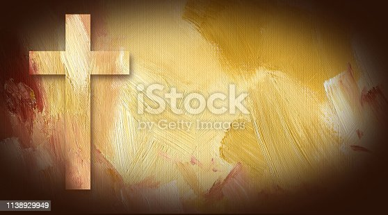 Digital graphic illustration of Cross of Jesus Christ composed of textured oil painted background. Art suitable for Easter and or general religious themes.