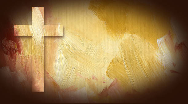 Graphic Christian cross of Jesus abstract background Digital graphic illustration of Cross of Jesus Christ composed of textured oil painted background. Art suitable for Easter and or general religious themes. religion stock illustrations