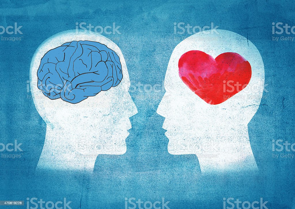 A graphic showing 2 heads one with a brain in one with heart vector art illustration
