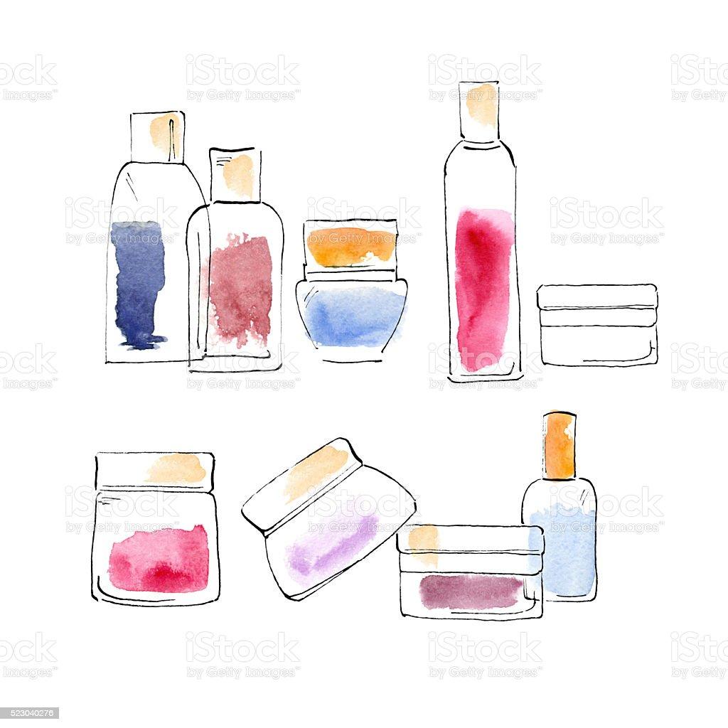 Graphic sketch. Set of bottles. vector art illustration