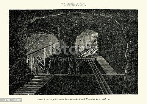 Vintage engraving of Interior of Graphite mine of Batougol, Saiansk mountains, Easterm Siberia, 19th Century