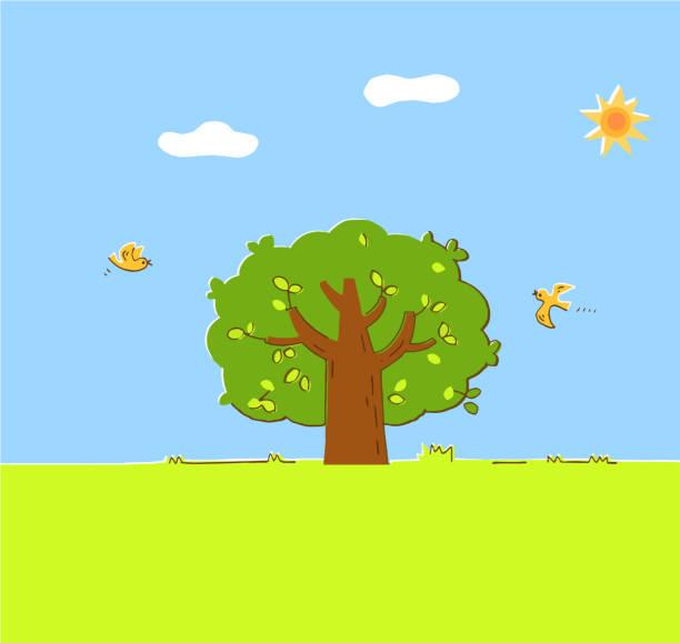 illustrazioni stock, clip art, cartoni animati e icone di tendenza di grass and flowers and trees - forest bathing