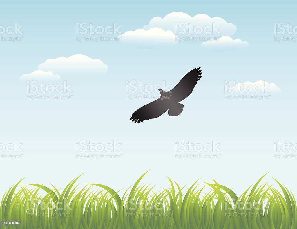 Grass and Sky Background royalty-free stock vector art
