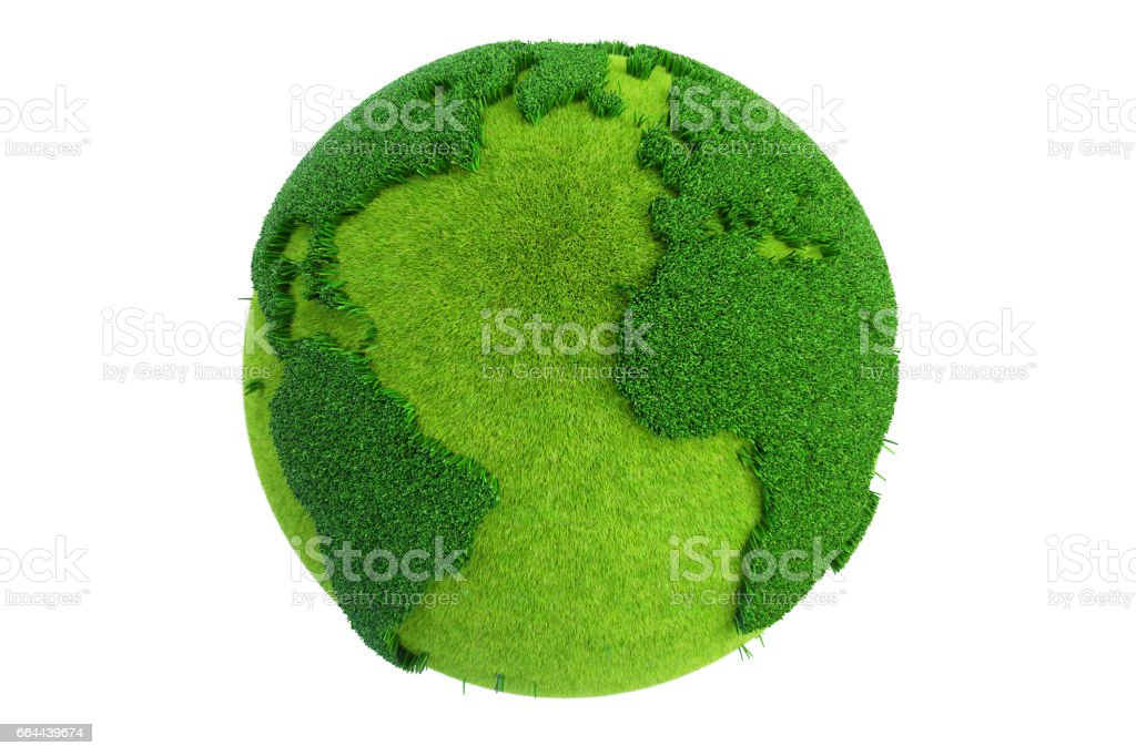 Grass Earth Globe, 3D rendering isolated on white background vector art illustration