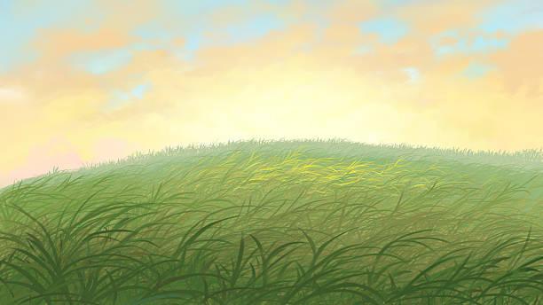 grass field grass field painting champaign illinois stock illustrations