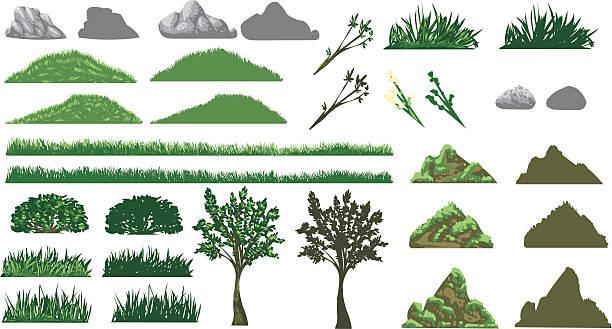 bildbanksillustrationer, clip art samt tecknat material och ikoner med grass, tree and hills set - buske