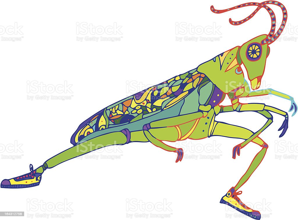 Grasshopper in Sneakers royalty-free stock vector art