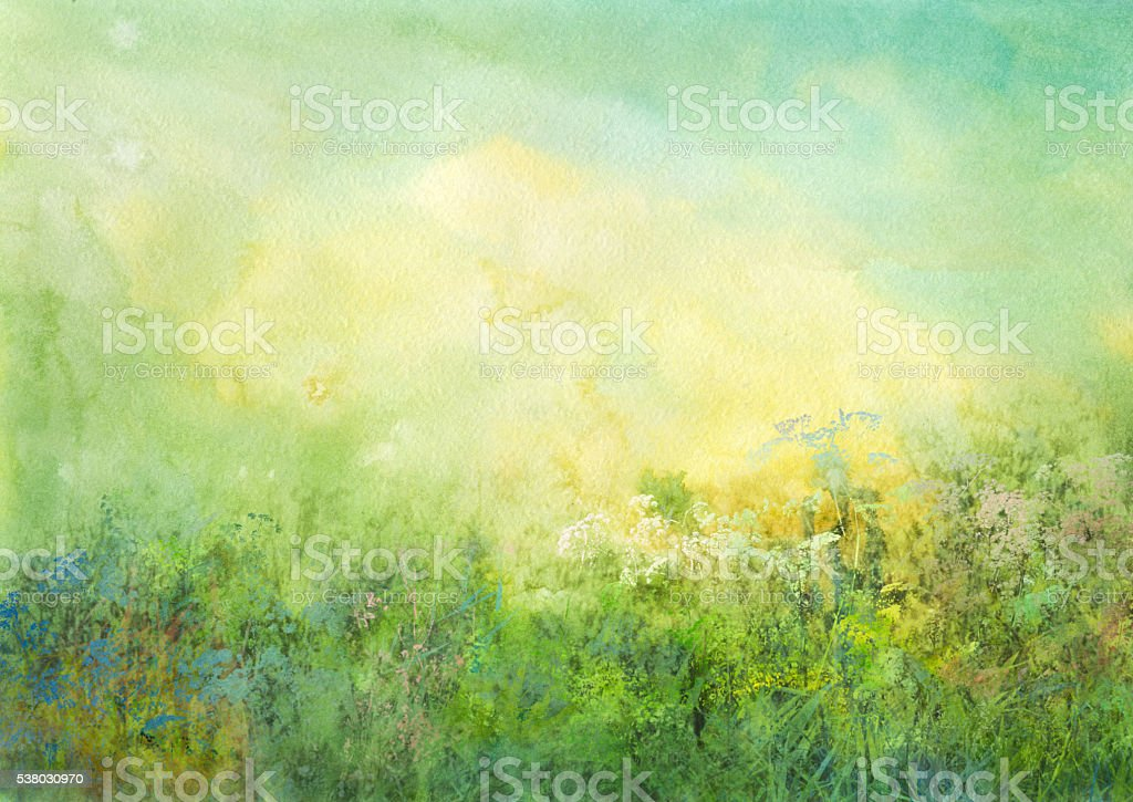 grassland, watercolor background vector art illustration