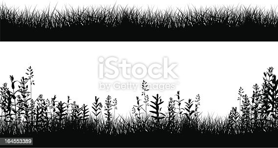 grassy field border silhouettes stock vector art amp more