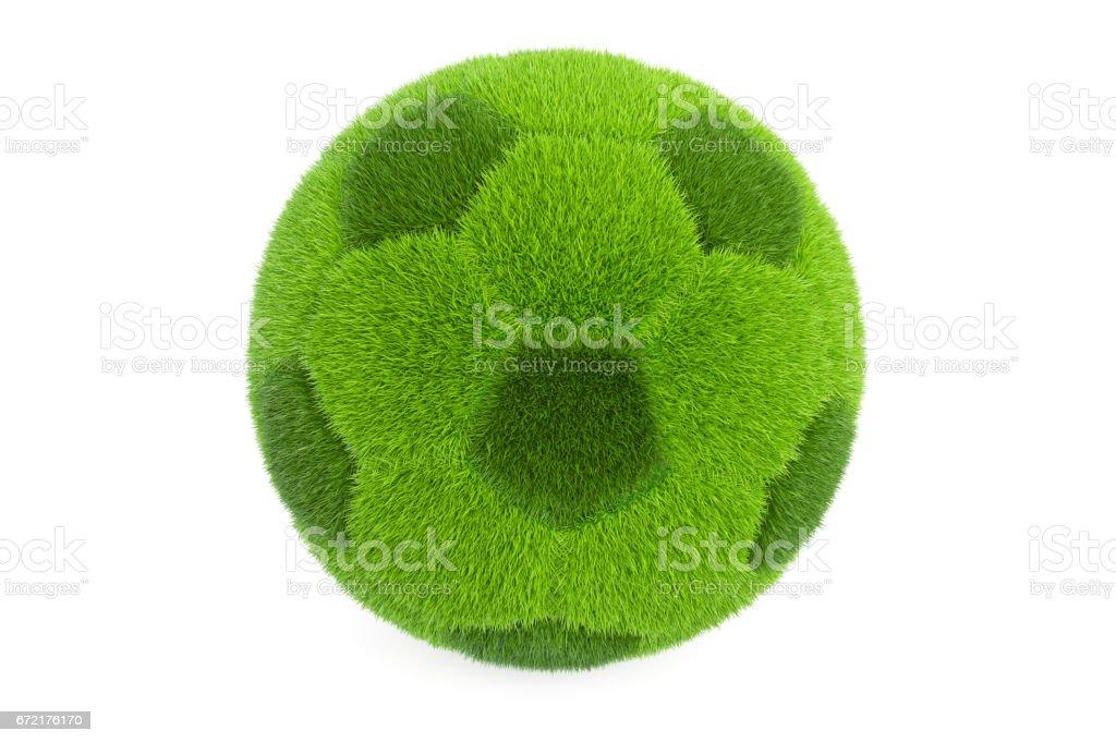 Grassy soccer ball, 3D rendering isolated on white background vector art illustration