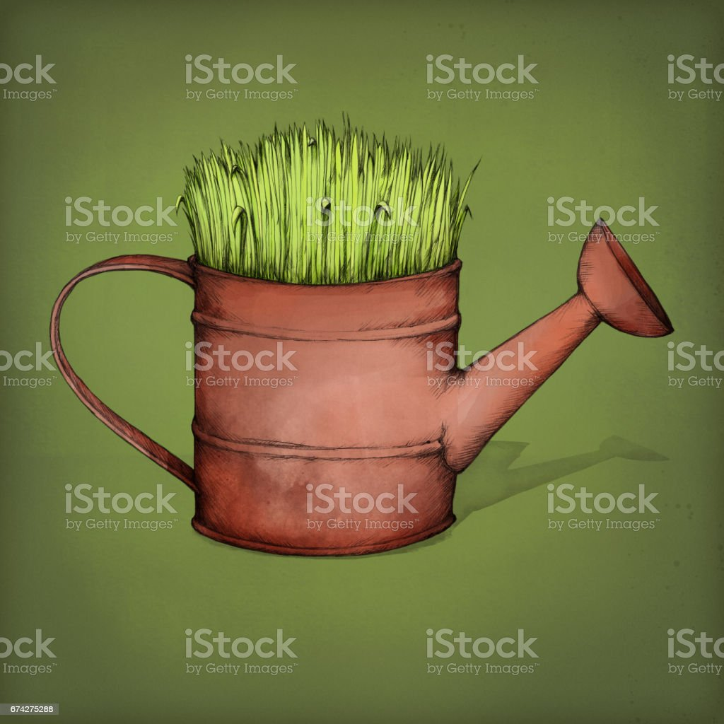 Grassy watering can – Vektorgrafik