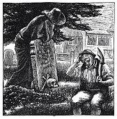 Gravedigger at the grave