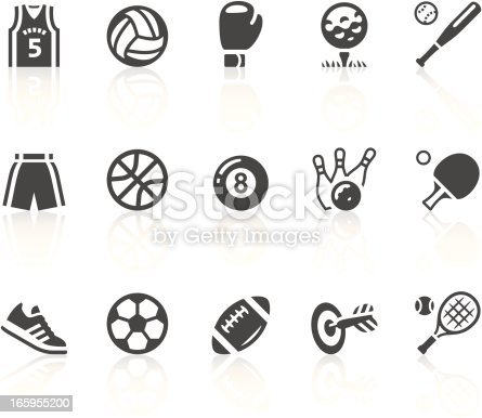 Gray and white sports equipment vector icon set