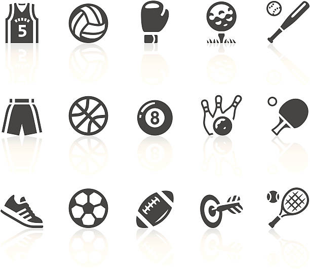 gray and white sports equipment vector icon set - paddle sports stock illustrations