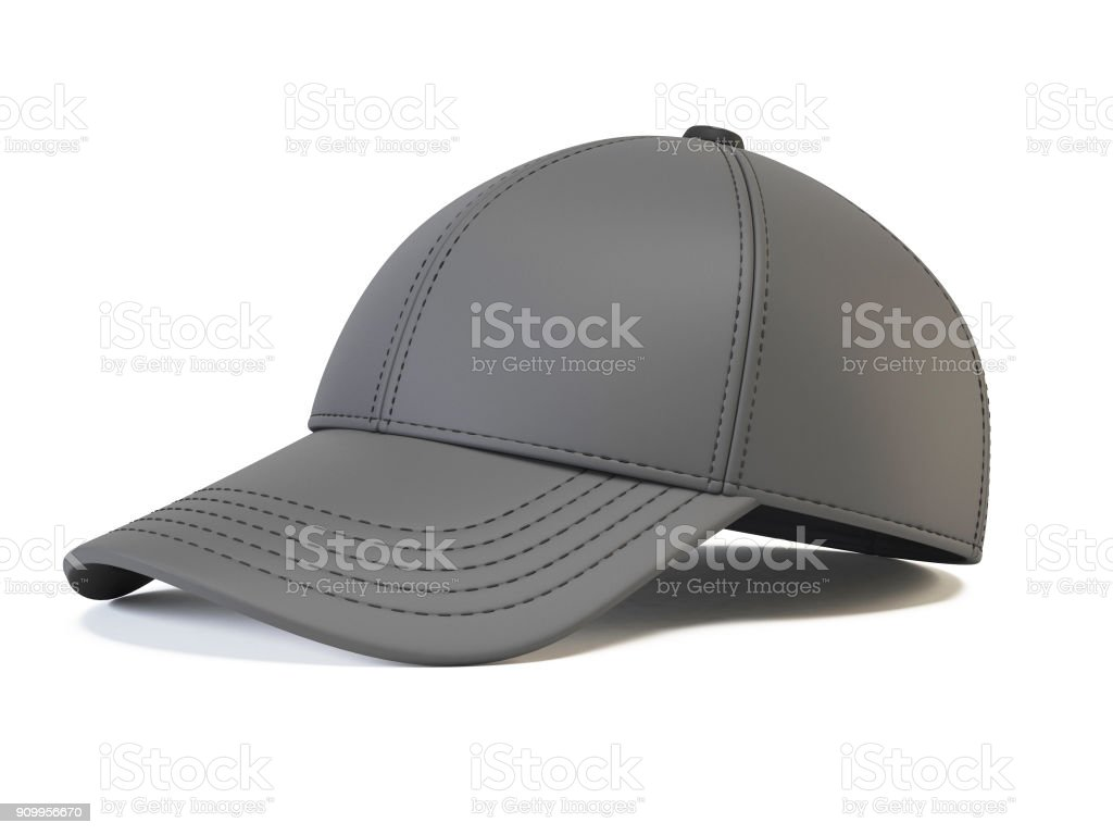 gray baseball cap mock up blank hat template isolated on white