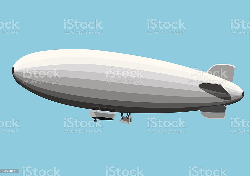 Gray Blimp vector art illustration