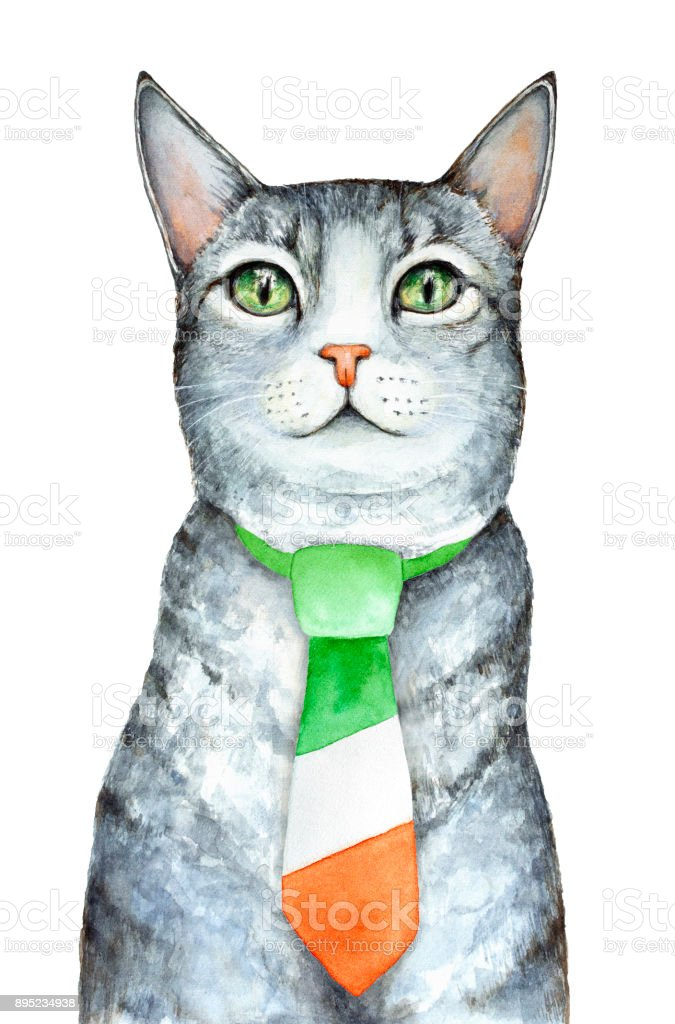 Gray cat character dressed in formal traditional man tie colored in colors of national Irish flag. vector art illustration