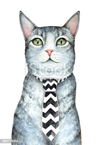 istock Gray cat character wearing mens neck tie with black and white chevron zig zag pattern. 883178454