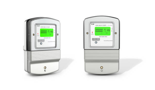ilustraciones, imágenes clip art, dibujos animados e iconos de stock de contadores eléctricos gris sobre un fondo blanco. ilustración 3d - amperímetro