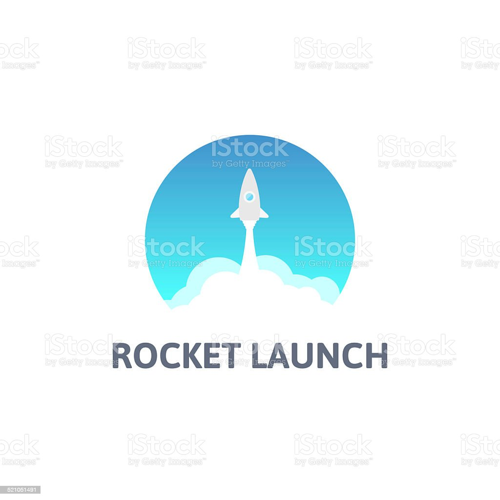 Gray rocket and white cloud, circle icon in flat style vector art illustration