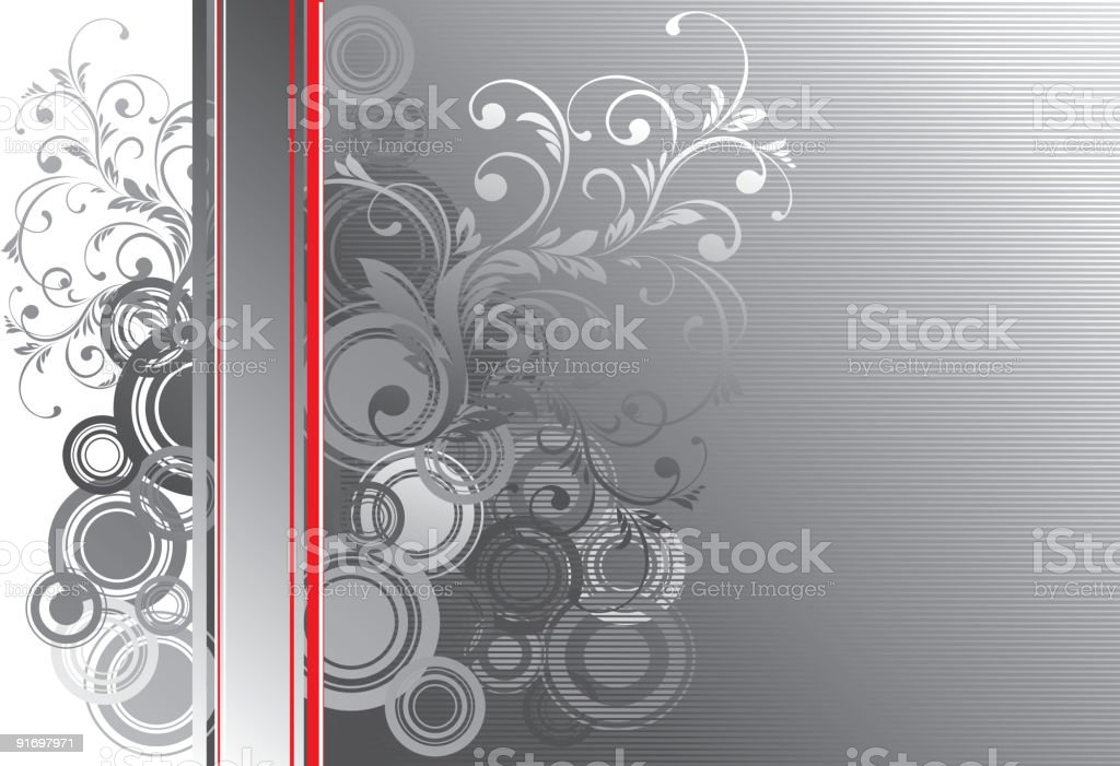 Gray vertical floral blank royalty-free stock vector art