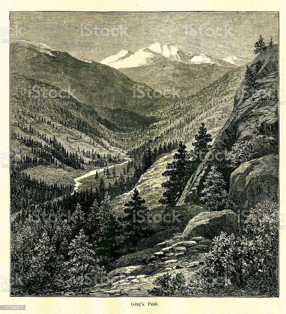 Grays Peak, Colorado royalty-free stock vector art