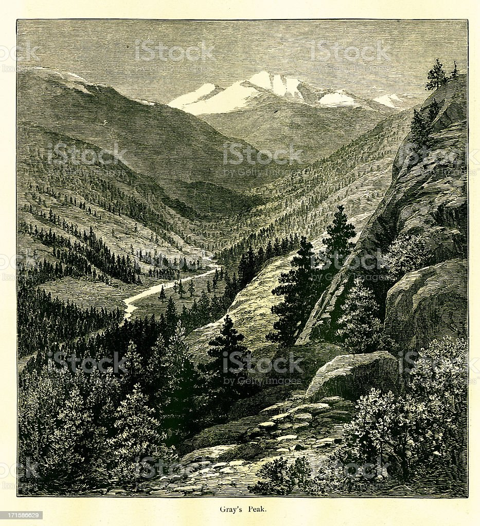 Grays Peak, Colorado vector art illustration