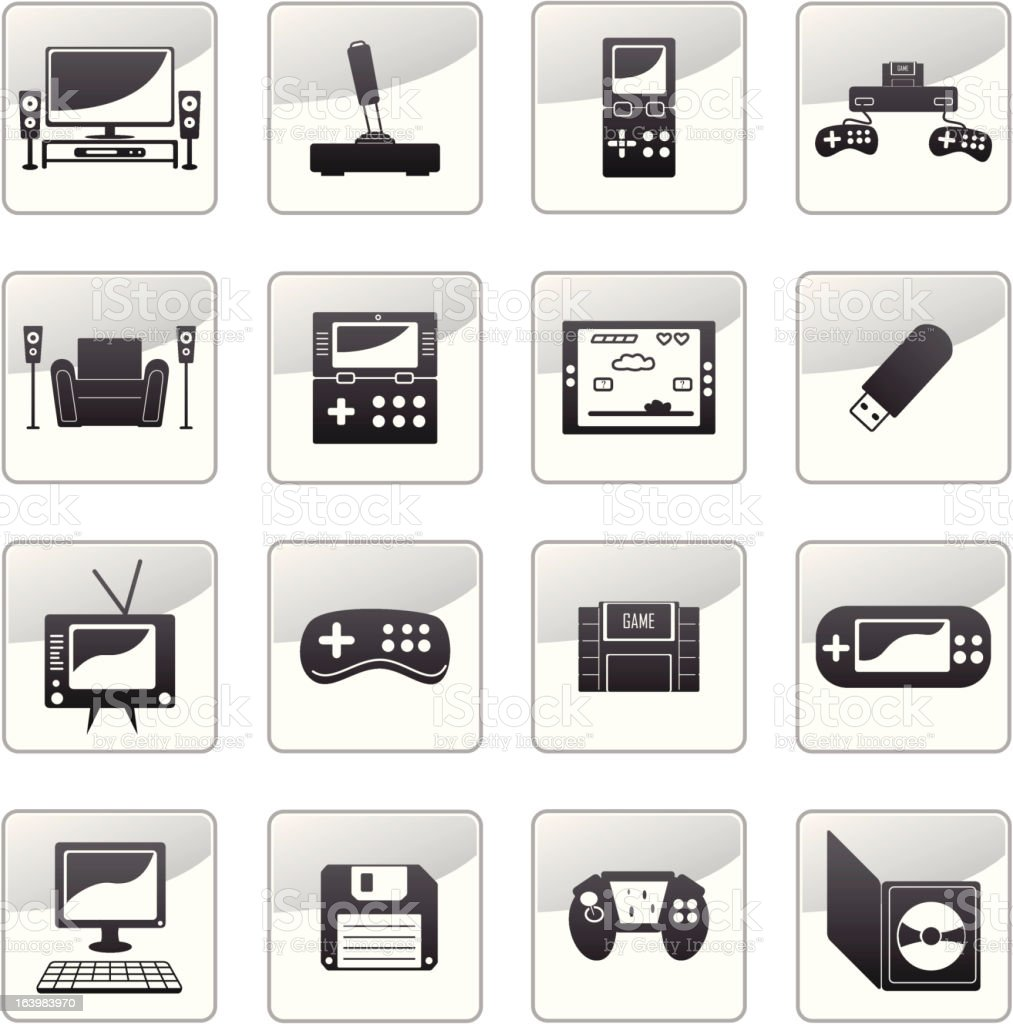 grayscale icons set 4 - games royalty-free stock vector art