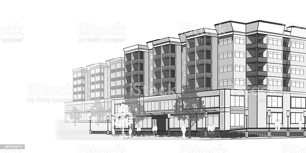 Grayscale illustration of a modern  Apartments vector art illustration