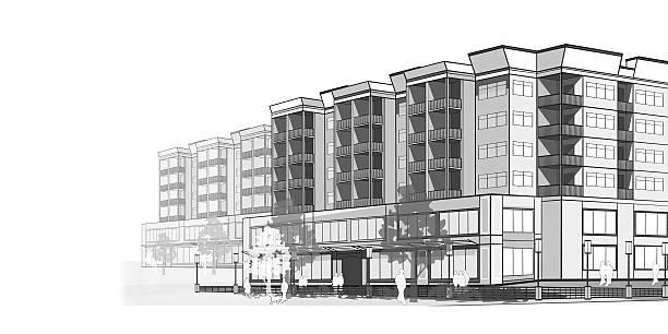 skala odcieni szarości ilustracja nowoczesne apartamenty - mieszkanie komunalne stock illustrations