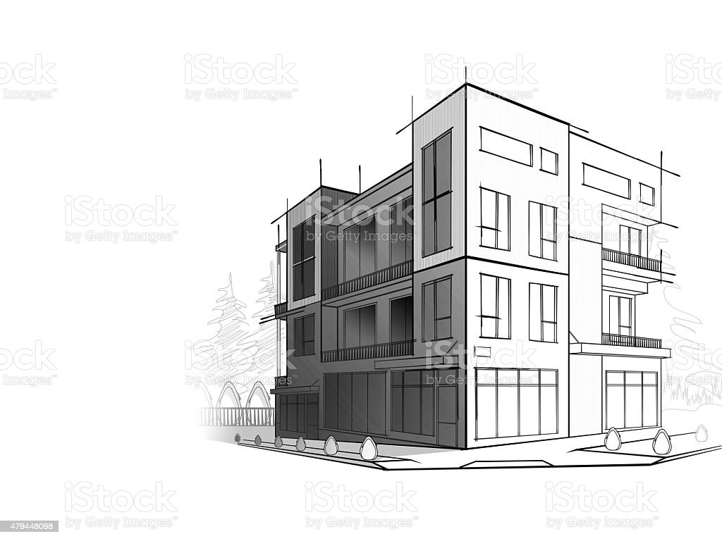 Grayscale Sketch Of Modern House stock vector art 479448098 iStock