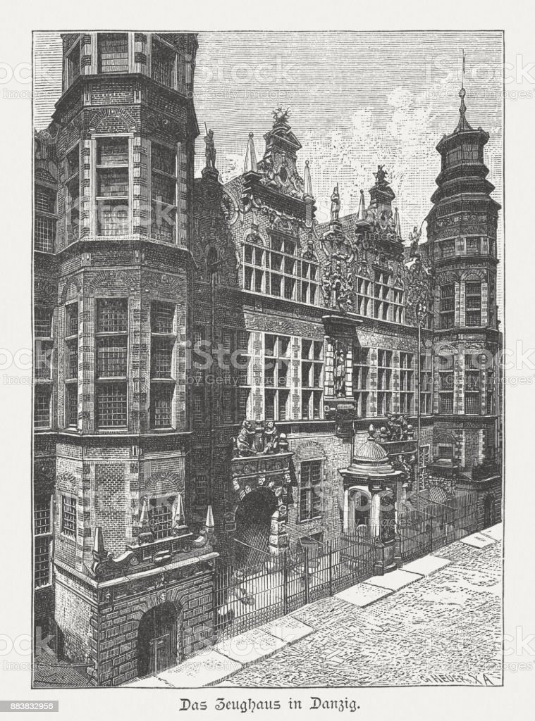 Great Armoury (Großes Zeughaus), Gdansk, Poland, wood engraving, published 1884 vector art illustration