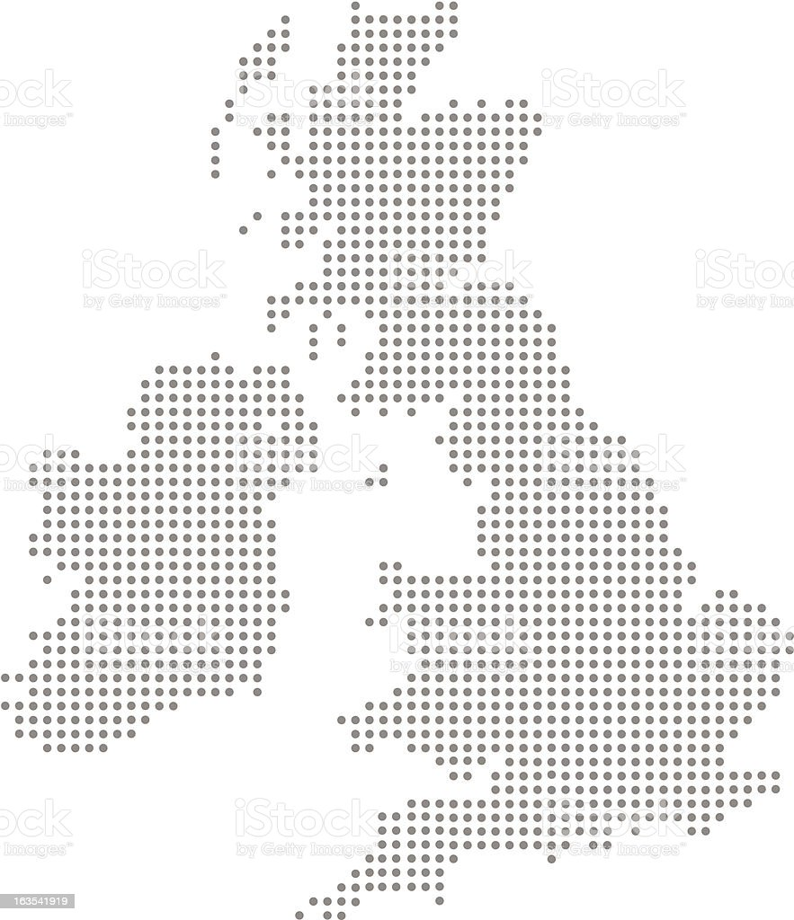 Great Britain and Ireland Dot Map (vector) vector art illustration