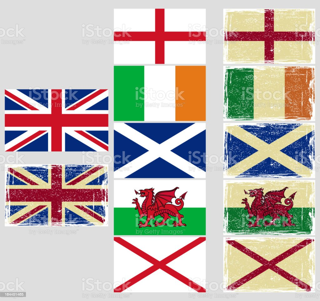 Great Britain flags. royalty-free stock vector art