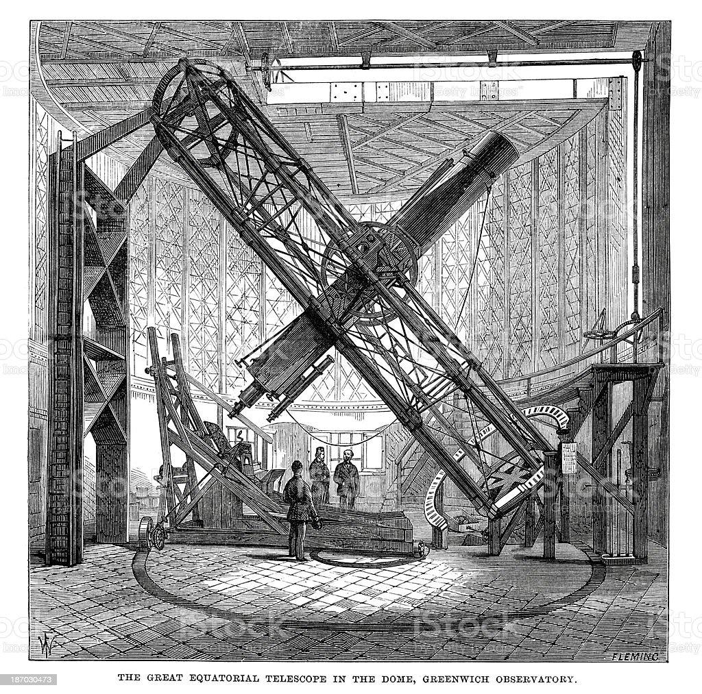 Great Equatorial Telescope royalty-free stock vector art