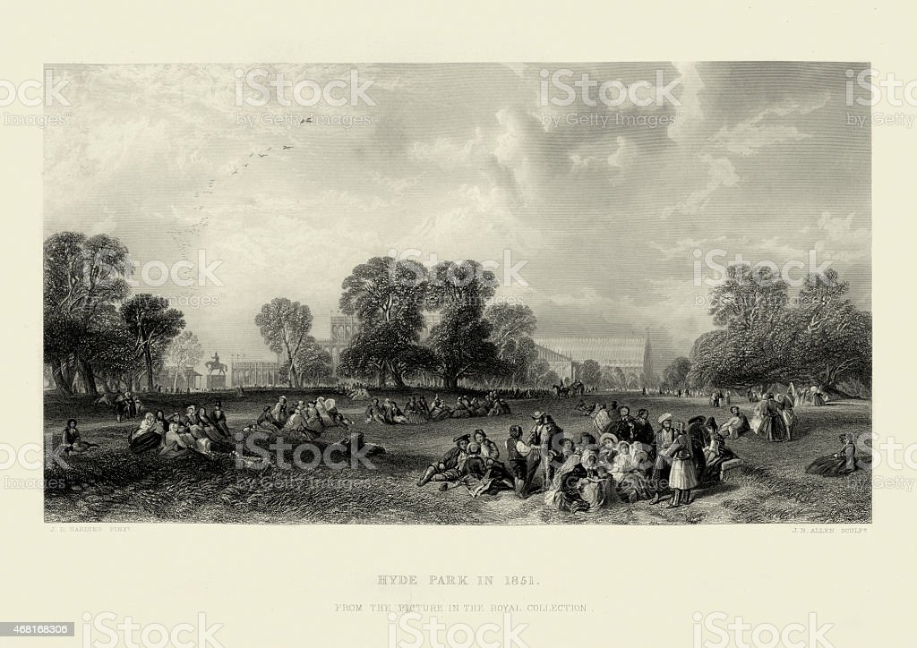 Great Exhibition - Hyde Park, London in 1851 vector art illustration