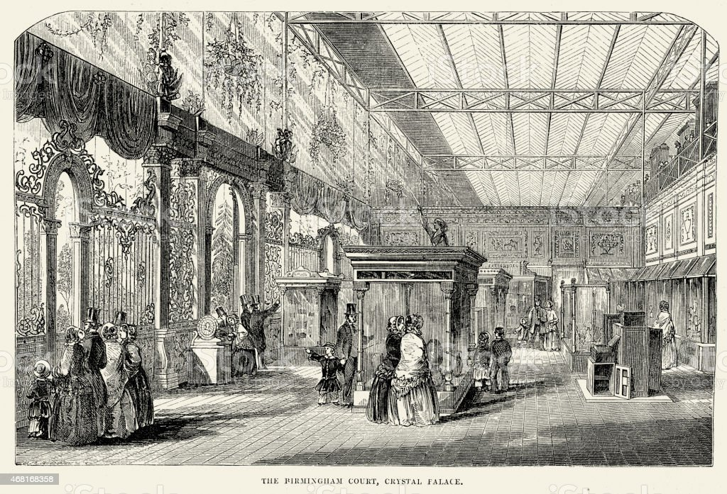 Great Exhibition - The Birmingham Court, Crystal Palace vector art illustration