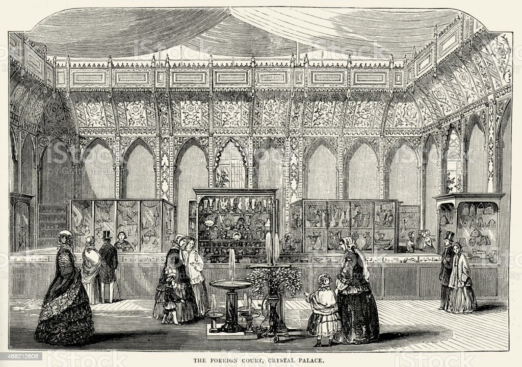 Great Exhibition - The Foreign Court, Crystal Palace vector art illustration