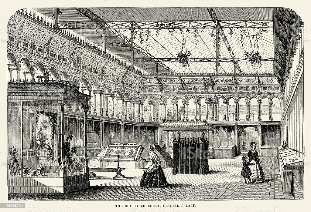 Great Exhibition - The Sheffield Court at Crystal Palace vector art illustration