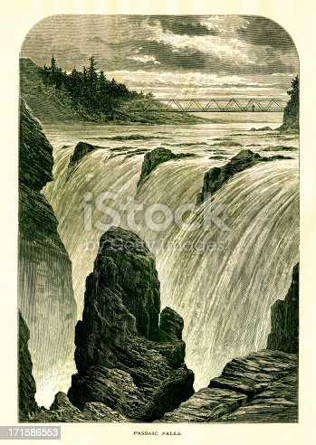 Great Falls of the Passaic River, one of the largest waterfalls in the United States of America. Published in Picturesque America or the Land We Live In (D. Appleton & Co., New York, 1872).