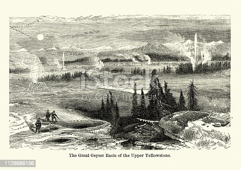 Vintage engraving of Great Geyser basin, Yellowstone, USA, 19th Century