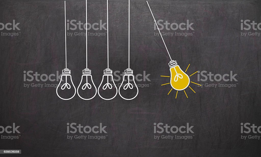 Great Idea. Creativity Concept with light bulbs on chalkboard vector art illustration