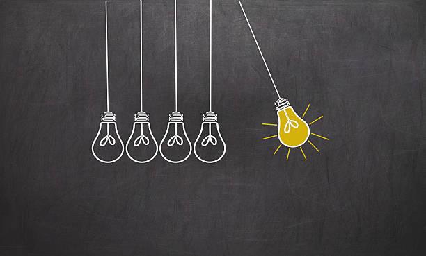 stockillustraties, clipart, cartoons en iconen met great idea. creativity concept with light bulbs on chalkboard - schommelen bungelen